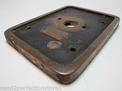 Old EMERGENCY RELEASE No 4 Mount Plate architectural button switch bronze brass 8