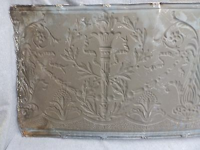 1 Salvaged Antique Tin Ceiling Decorative Pattern Old Vtg Torch Trim Edge 150-16 6
