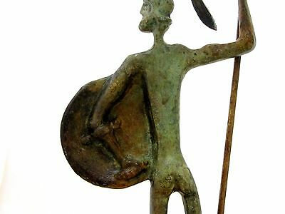 Ancient Greek Bronze Museum Statue Replica of Achilles With Spear & Shield Troy 6