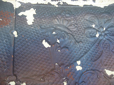 "GORGEOUS antique VICTORIAN tin ceiling pressed FLORAL fleur pattern 24.75"" x 48"" 6"