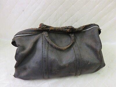 Doctor's Medical Bag Antique Satchel Messenger House Call Bag Leather Linen 11