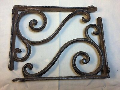 SET OF 2 RUSTIC  BROWN SCROLL BRACE/BRACKET vintage looking patina finish 2