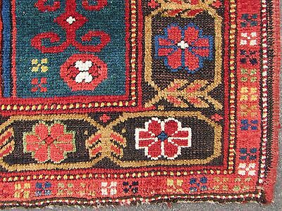 Antique Traditional Hand Made Caucasian Rug Red Green Wool Oriental Rug 142x99cm 12