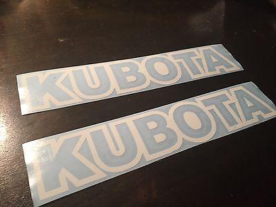 SET OF 2 KUBOTA TRACTOR VINYL DECAL STICKER WHITE