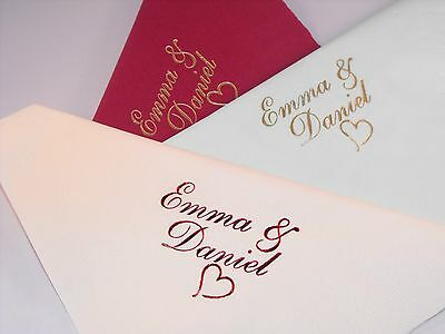 100 x  Personalised luxury Dinner 3 Ply  Wedding  Napkins 2