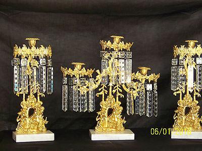 c1850's 3pc Set Girandole Majestic Candelabras Phili.-N.Y. w/Crystal Gold Gilded 5