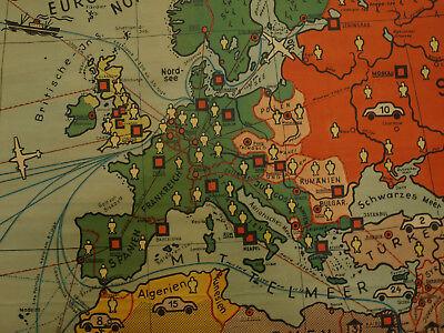 Schulwandkarte schöne alte Erde Weltkarte Deutschland 234x157c vintage map ~1955 3