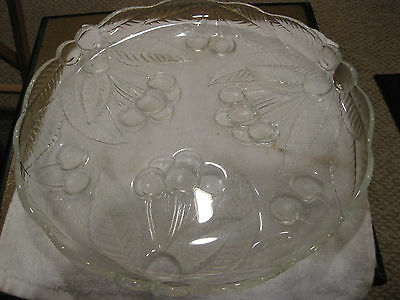 Mw: Antique Leaded Glass Tray Etched With Leaves & Berries 2