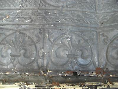 "GORGEOUS antique VICTORIAN tin ceiling pressed FLORAL fleur pattern 24.75"" x 48"" 10"