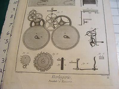 "Original engraving 1760's 10 1/2 x 16"" Pendule a Ressort 3"