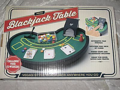 Mini Blackjack Table Vegas Style Felt Cards Poker Chips Home Office Travel NEW!