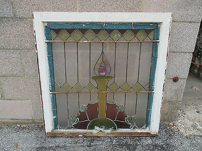 ~ ANTIQUE AMERICAN STAINED GLASS WINDOW ~ 34 x 35 ~ ARCHITECTURAL SALVAGE ~ 8