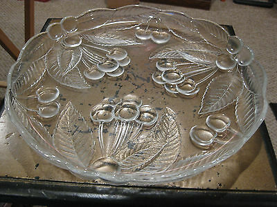 Mw: Antique Leaded Glass Tray Etched With Leaves & Berries 3