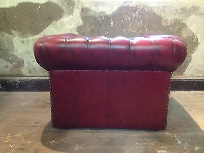 Vintage Chesterfield Armchair ClubChair ButtonBack Fireside Wing OxBloodLeatherx 8