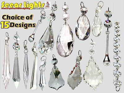 Cut Glass Crystals Chandelier Droplets Wedding Drops Beads Light Spare Parts 2