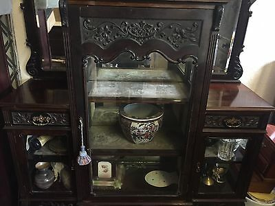 STUNNING MIRROR BACKED EMPIRE CABINET CARVED GLASS DISPLAY 7ft ANTIQUE 3