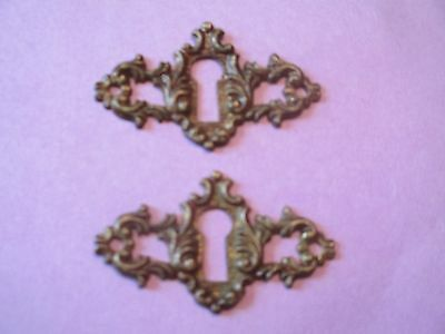 (2) SOLID - BRASS pierced KEYHOLE COVER antique VICTORIAN ornate FANCY DESIGN 6