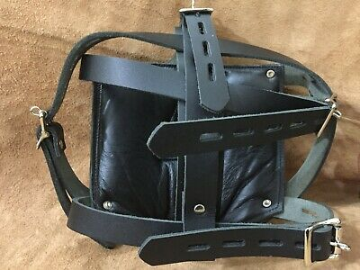 New Genuine Leather Bondage Padded Face Muzzle Locking Head Harness Role Play 3