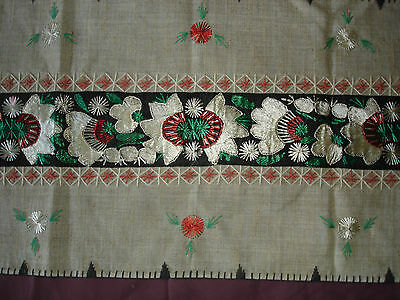 #071  Beautiful Vintage Hand-Embroidered Table Runner 39''/15''(100cm/39cm) 4