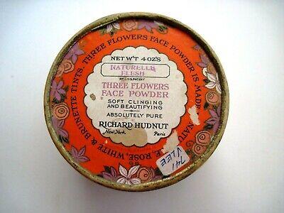"Vintage Powder Box ""Three Flowers"" Face Powder - ""Richard Hudnut "" Art Deco  * 6"
