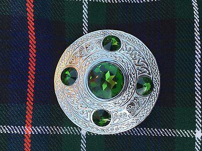 "Men's Fly Plaid Brooch Green Stone 4""/Ladies Shawl Brooch/kilt Fly Plaid Brooch 2"