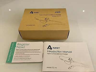 AUKEY USB C Chargeur Voiture 27W Chargeur Allume Cigare Double Port USB 5