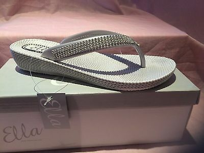 04a8a1e08 ... S1 Ladies Womens Ella Toe Post Sandals Low Wedge Diamante Flip Flops  Summer Sun 6
