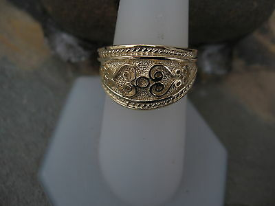 14 KT Yellow Gold Polished Byzantine Finish Etruscan Design Cigar Band Ring NEW 10
