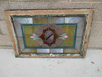 ANTIQUE AMERICAN STAINED GLASS WINDOW 36 x 24 ~ ARCHITECTURAL SALVAGE~ 6