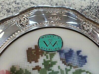 "Wallace 8"" Sterling Silver Plate Needlepoint 6510 Rose Point Collectors 925 9"