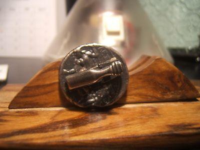 """GREEK - ROMAN COIN """"CAESAR -GOD""""  Tie Clasp - Pin  22 mm wide  Beautiful Item"""