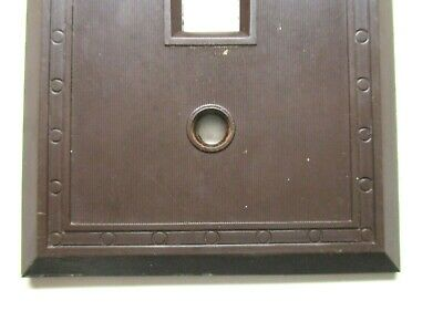 Sem Co 1801 USA Brown Bakelite Antique Switch Wall Plate Cover Fine Lines Dots 2