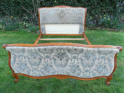 Vintage French Double Bed Quality Sleigh Bed Frame Great L@@king Piece Brocade 2