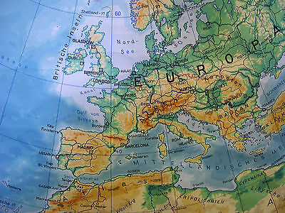 Schulwandkarte schöne alte Nördliche Erdhälfte Arktis 170x177c vintage map ~1957 6