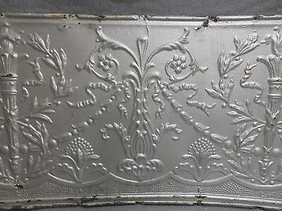 1 Salvaged Antique Tin Ceiling Decorative Pattern Old Vtg Torch Trim Edge 150-16 3