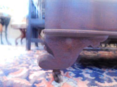 """Victorian Mahogany Carved Slipper Sofa Gold Velvet Upholstery 35 1/2"""" H x 46"""" W 4"""