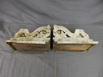 Antique Pair Corbels Wood Small Victorian Architectural Shabby Vtg Chic 517-17P 3