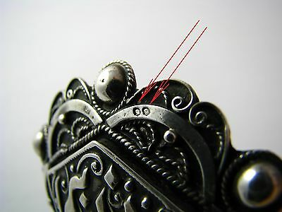 ANTIQUE ARABIC ISLAMIC SILVER BROOCH PIN FILIGREE North Africa Tunisia ca1900's. 10