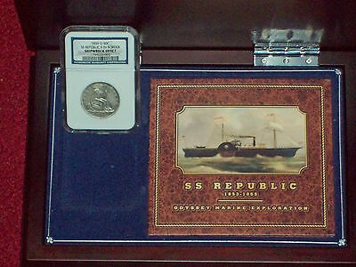 "1859 O Half Dollar NGC SHIPWRECK EFFECT SS Republic ""9 IN BORDER"" WOOD CASE, DVD 4"