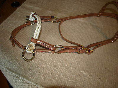 Western harness leather double rope side pull USA natural custom cowboy  H4005 4