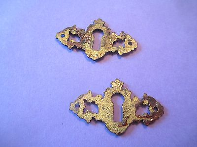 (2) SOLID - BRASS pierced KEYHOLE COVER antique VICTORIAN ornate FANCY DESIGN 3