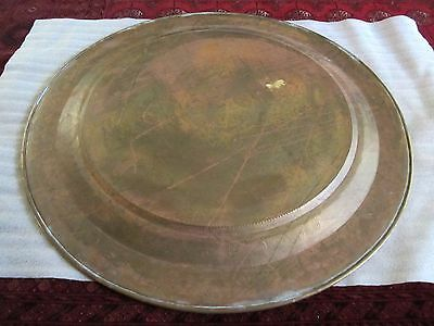 "Gorgeous Antique Persian Islamic Engraved Copper Tray 38"" / 97cm/ 14lbs 8"
