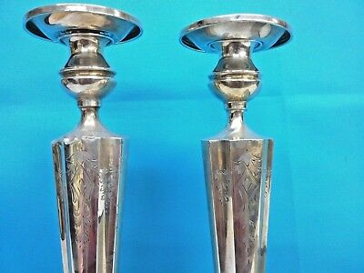 Antique Sterling Silver Candle Holder Height : 14 inches, Pair, PRICE REDUCED 10