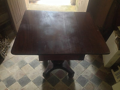 Exceptional Antique Mahogany 19th Century Flap Top Pedestal Table Dining Tea 12