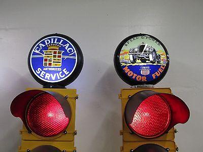Large Traffic Light Gas Pump Globe Sign Pole Harley Coke OK Cars Corvette 5