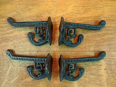 4 BROWN ANTIQUE-STYLE CAST IRON EASTLAKE-STYLE VICTORIAN COAT HOOKS hardware art 5