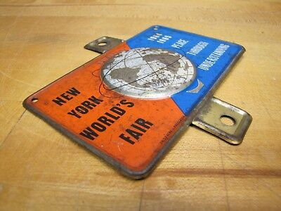 1964-65 New York World's Fair Unisphere License Plate Topper Bike Auto Sign NYWF 5