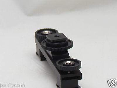 Hot Shoe Extension Bar Mount Dual Bracket For DV Video Camera LED Light SLR Rig