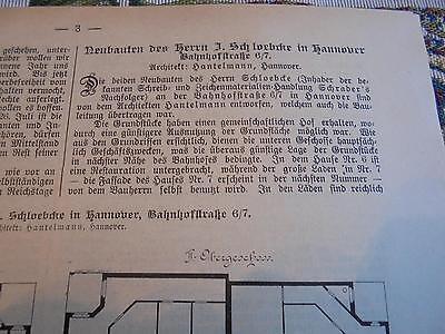 1902 Baugewerkszeitung 1 / Hannover Bahnhofstraße Schloebcke