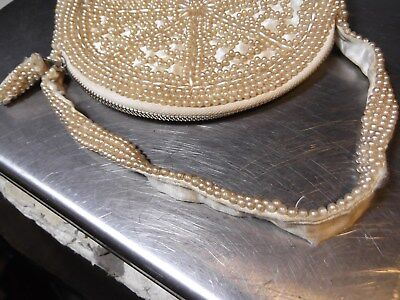VINTAGE ART DECO c1920-30's WHITE PEARL SEED BEADS ZIPPERED SILK BAG PURSE